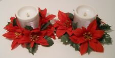 2 - Multi-Colored Battery Powered Candles with Poinsettia Rings