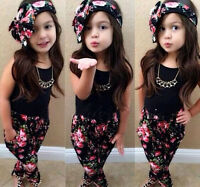 US Stock Toddler Kids Girls Outfits Summer Vest Tops Floral Pants Clothes Set