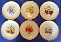Hutschenreuther - Set Of 6 Fruit Plates With Gold Rims - Selb Bavaria Germany