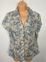 WOMENS PER UNA M&S UK 10 BLUE MIX FLORAL EMBROIDERED SHORT SLEEVE BLOUSE TOP