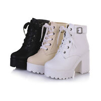 Womens Chunky Heel Round Toe Lace Up Platform Punk Gothic Ankle Shoes All UK Sz