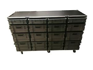 Euro Container Roll Cabinet / Flight Cases With Storage Boxes