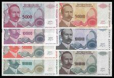 Bosnia 5000 to 500 Million Dinara P 149 -155 UNC x 7 PCS OFFER !