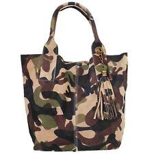 3b37ca5e9 Bolso Camuflaje Militar Ejército Cuero Mujer Piel Felpa Velludo Pana Italia  Camo