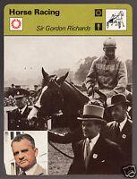 SIR GORDON RICHARDS on Pinza Jockey Horse Racing 1978 SPORTSCASTER CARD 26-06