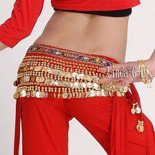 Velutum 248 Gold coins Belly Dance Costume Waist Chain Hip Scarf Wrap Belt 9/2
