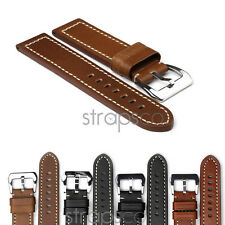 StrapsCo Vintage Thick Leather Watch Band Mens Strap size 18mm 20mm 22mm 24mm