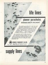 1953 Pioneer Parachute Co. Ad Chutes Landing Men & Supplies Military Parachuting