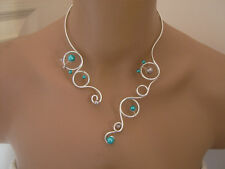 Collier OriginalTurquoise/Gris pr robe de Mariée/Mariage/Soirée perles pas cher