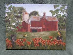 Summer Days Red Barn Silo Bird Flowers Farm Home Decor Canvas Billy Jacobs