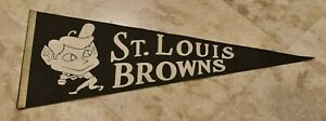 Rare 1940's ST. LOUIS BROWNS 30 Inch Original Baseball Pennant-Great Graphics