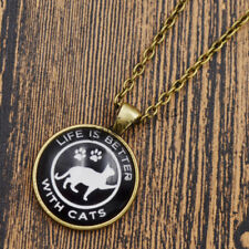 Black white Cat Paw Cabochon Glass Pendant Necklace Jewelry Charm Bronze Chain