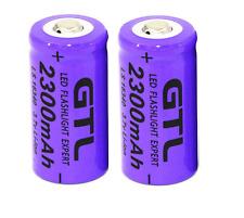 2 x GTL 3.7V CR123A 16340 2300mAh ricaricabile Li-ion batteria al litio per fotocamera