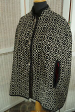 Vintage Welsh Tapestry Cape Free Size Black & White Woven Geometric Wool Poncho