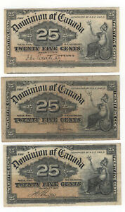 THREE 1900 CANADA 25 CENT NOTES, THREE DIFFERENT SIGNS.