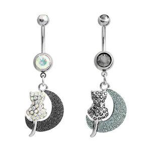 Cat Moon Belly Ring AB Black Clear CZ Gem Dangle Navel CZ Body Jewelry Animal