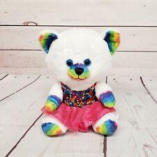 "Build a Bear Buddies Smallfrys 7"" Rainbow Kitty Cat with Sequin Dress Plush"