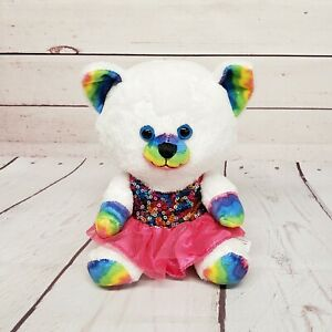 "Build a Bear Buddies Smallfrys 7"" Rainbow Kitty Cat with Sequin Dress Plush"