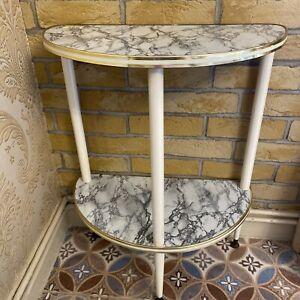 Vintage Mid Century Faux Marble Brass Edged Demilune Half Moon Table + Shelf