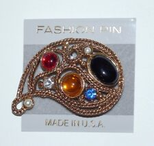 With Cabochons And Crystals & Pearls Bold Statement Gold Tone Brooch Fashion Pin