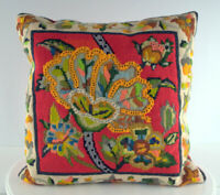 """Needlepoint Pillow 16"""" X 16"""" Paisley Floral Fine Stitching Red Green Orange Gray"""