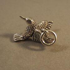 .925 Sterling Silver 3-D Detailed HUMMINGBIRD CHARM Pendant NEW Bird 925 BI33