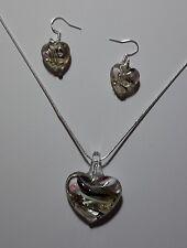 Black & White & Gold Stripe Murano Glass Earrings & Necklace Set #Valentine