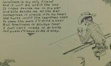 Sad Loneliness Poem Cowboy Western Motif Comic  Chrome Vintage Postcard