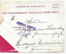 1917 German East Africa India WWI Prisoner of War POW Censored Cover to Germany