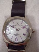 Toy Watch Leather Purple Dial and Bracelet Watch white face-NEW
