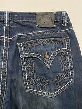 Kanji Collection 42 x 34 Loose Bold Stitch Flap Pocket Dark Wash Denim Jeans