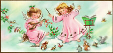 Vintage Hampshire Christmas Card:LITTLE ANGELS IN PINK SERENADING ANIMALS