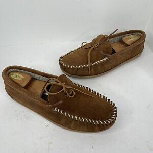Minnetonka Men's faux sheerling Hardsole Moccasin Suede Slippers 13 41353 shoes