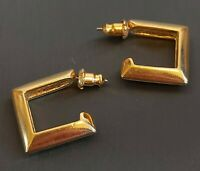LOVELY VINTAGE 80S SQUARE GOLD HOOPS HOOP EARRINGS