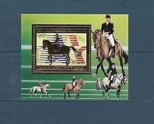 Centrafrique   bloc  jeux olympiques Los Angeles 1984  cheval  sur OR  **