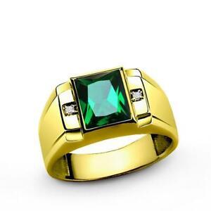 Men's 10k Gold Ring Bezel Set Green Emerald & Genuine Diamonds all sizes