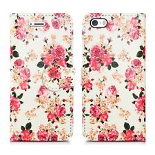 Leather Luxury Wallet Book Flip Phone Protect Case for Apple iPhone 6 6s Roses on White - Pink Cream Flower Bloom Pretty