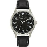 Bulova Men's Quartz Black Leather Date Calendar Silver-Tone 42mm Watch 96B276