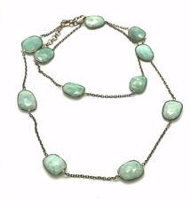Sterling Silver Green Blue Lace Faceted Amazonite Oxidized Necklace Adjustable
