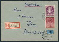 Berlin 1951, Mi. 71+79 auf Brief, portorichtige MiF! R-Brief, Mi. 130,-€