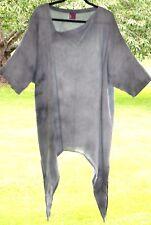 "ONE LIFE @Sahara Tie-Dye Tunic 58"" Bust Shades-of-Grey 100% Cotton Asymmetric"