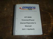 Gomaco Gt 3600 Concrete Curb Trimmer Slipform Paver Operator Maintenance Manual