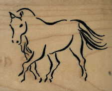"""mounted rubber stamps  Horse Sketch wood mount  2 1/2"""" X 3"""""""