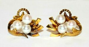 Vintage Modernist 18k Yellow Gold Screw Back Earrings w. 6x Pearl Accent(ChC) 88