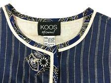 KOOS Of Course! Van Den Akker Reversible Linen Blend BOHO Jacket Size M