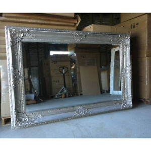 Embossed Wall Mirror with SILVER Colour Wooden framed  204CM X 139CM