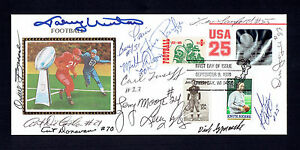 Johnny Unitas Donovan Moore Others Signed Cachet FDC JSA LOA #Y90161 Colts