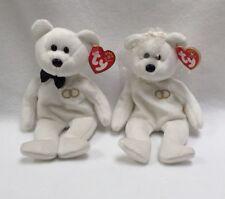 Ty Beanie Babies Mr & Mrs Bride & Groom Bears 2001 w/Bowtie, Veil, Rings New