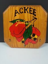 "Vintage ""70s"" Jamaican ""Ackee"" Wood Wall Keyholder with 3 Key Hooks"