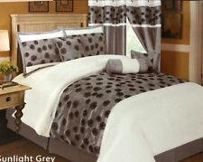 7-Piece Queen Comforter Set Gray White Bed Bedding Sunshine
